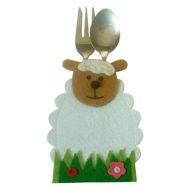 4 Sztuk/zestaw Piękny Owce Kształcie Pouch Kieszonkowy Nóż i Widelec Zastawa Stołowa Holder Torby Wiosna Wielkanoc Dekoracje świąteczne DIY Ornament