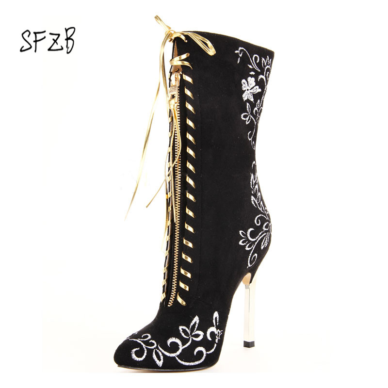 SFZB New Design Suede pointed Toe Women Summer Boots Hollow Out Lace Up Sexy Boots High Heel Gladiator shoes