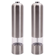 2pcs Stainless Steel Electric Salt Pepper Mill Spice Kitchen Tool Automatic Mills Grinder