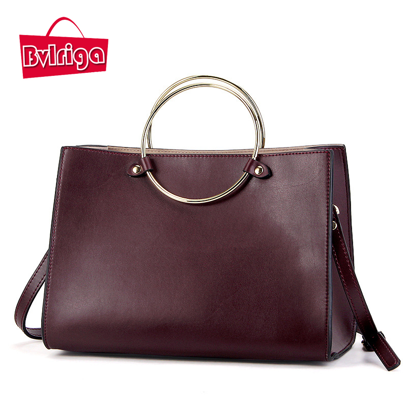 BVLRIGA Genuine leather bag Vintage Ring Women leather handbags Luxury handbags