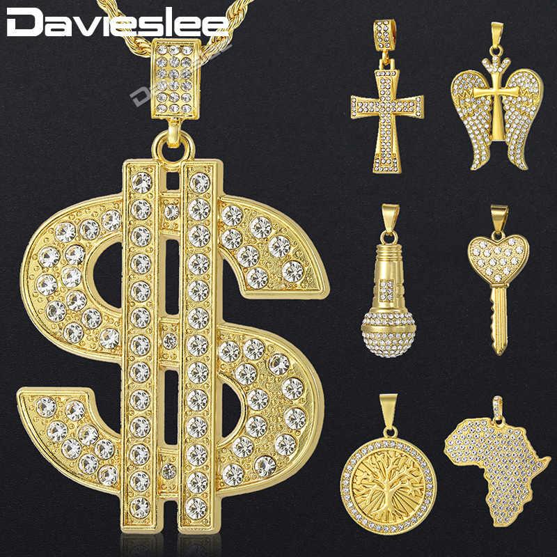 Davieslee dolar amerykański mapa afryki lew krzyż naszyjnik dla mężczyzn Miami łańcuch Iced Out betonowa biżuteria ze strasu DGPM08