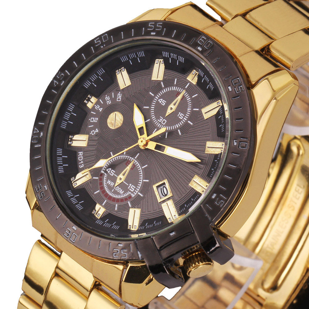 Golden&Rose Gold Luxury Mens Black Dial Gold Stainless Steel Calendar Date Saat Quartz Analog Wrist Watch Montre Homme
