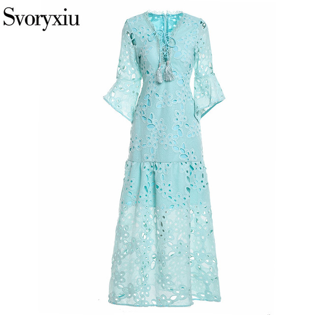 Sexy V-Neck Flare Sleeve Embroidery Party Dress