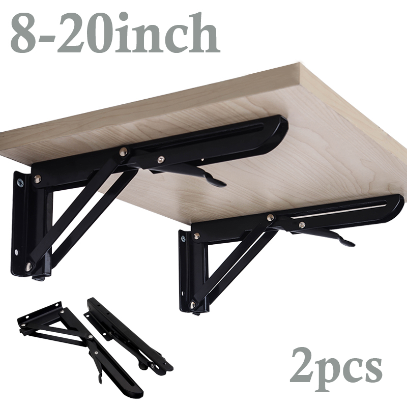 Triangle Folding Angle Bracket Black Adjustable Wall Mounted Durable Bearing Shelf Bracket DIY Table Bench  8-20Inch  2 Pack