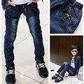 Новый Год, мальчики брюки джинсы Модные Мальчики Джинсы для Весна Осень детские Брюки Джинсовые Дети Темно-Синий Дизайн Брюки