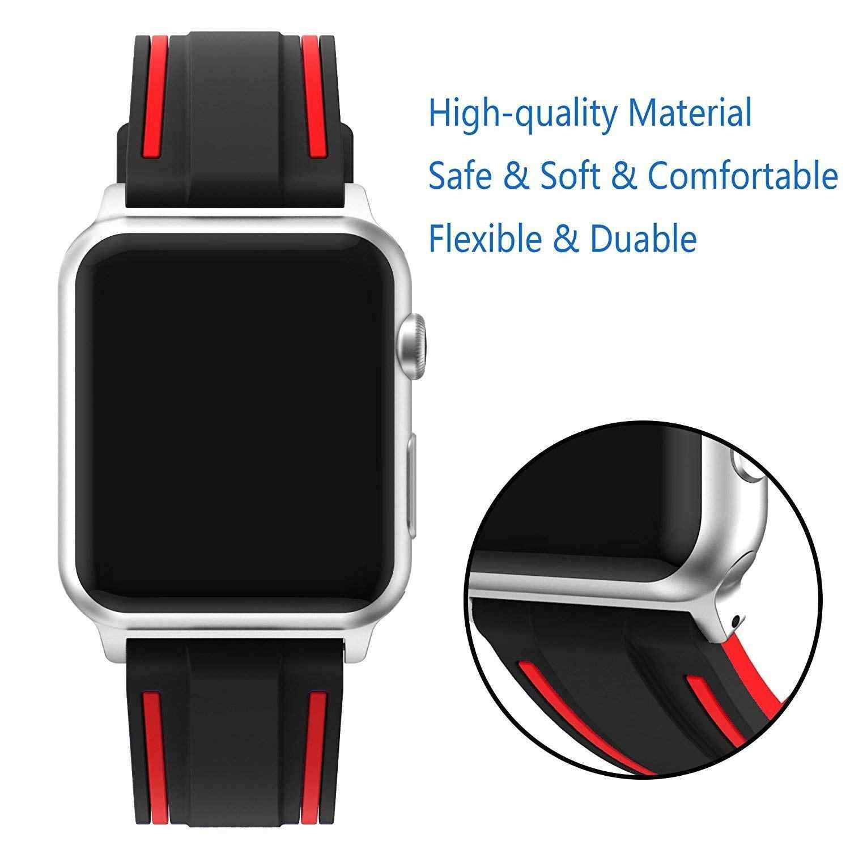 Спортивный силиконовый ремешок для Apple Watch 4 Band Series 4 1 2 3, мягкий цветной комбинированный ремешок в полоску для iWatch Sports Edition