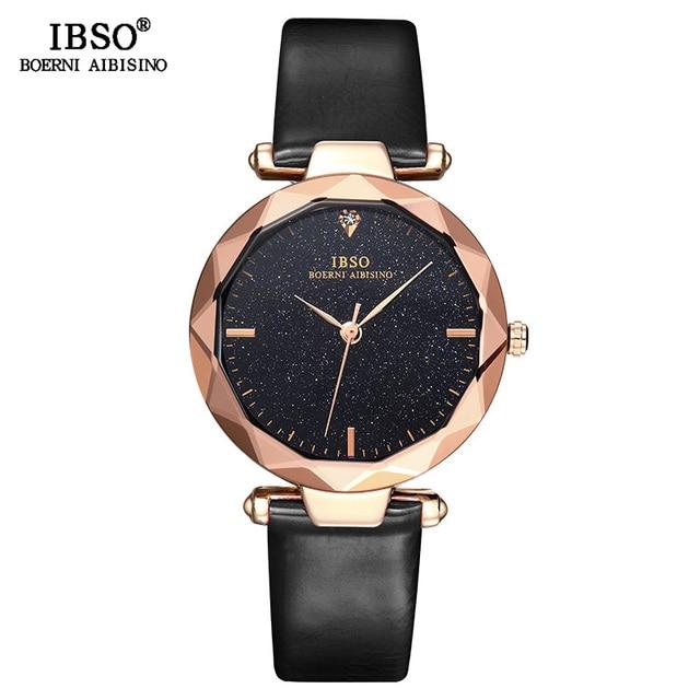 IBSO العلامة التجارية الإناث تصميم الساعات الساطعة تصميم الأزياء قطع الزجاج تصميم المرأة ساعة معصم عالية الجودة السيدات ساعة كوارتز