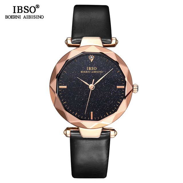 IBSO מותג נקבה הניצוץ חיוג עיצוב שעונים אופנה לחתוך זכוכית עיצוב נשים שעון יד באיכות גבוהה גבירותיי קוורץ שעון