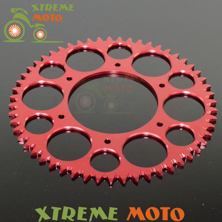 Red 55T CNC Rear Chain Sprocket For Honda CR125R CR250R CR500R CRF150F CRF230F CRF230L CRF230M CRF250R CRF250X CRF450R CRF450X 1 set front and rear sprocket chain
