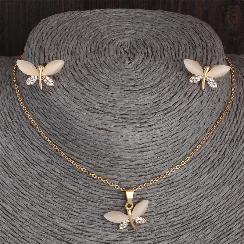 SHUANGR pierre naturelle opale papillon ensembles de bijoux pour les femmes or-couleur chaîne Champagne pendentif collier boucles d'oreilles bijoux femme 4