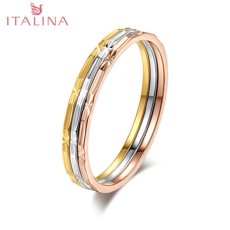 2018 Italina Brand New 3 Pcs Rings Rose Gold Color Classic Design