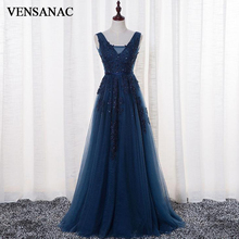 VENSANAC 2018 V Neck A Line Sequined Long Evening Dresses Elegant Party Lace Appliques Sash Backless Prom Gowns