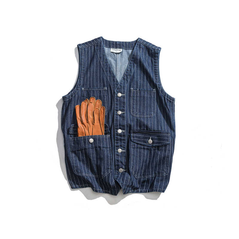 Mens Denim Vest Blue Stripe Multi-pockets Fashion Vintage Waistcoat Casual Tooling Vests Male Jean Sleeveless Jackets DS50648
