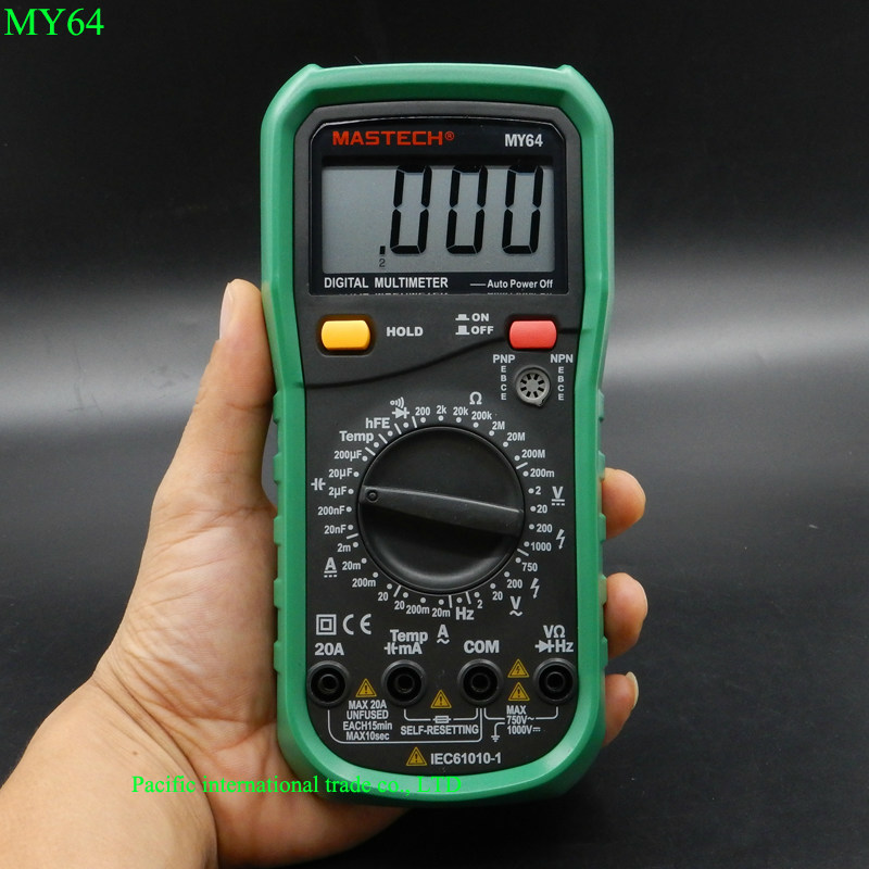 MASTECH MY64 Digital Multimeter AC/DC DMM Frequency Capacitance Temperature Meter Tester w/ hFE Test Ammeter Multitester  цены