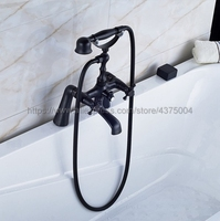Bathtub Faucet Oil Rubbed Bronze Deck Mounted Bathroom Tub Faucet Dual Handle W/ Hand Shower Sprayer Tub Mixer Tap Nhg024