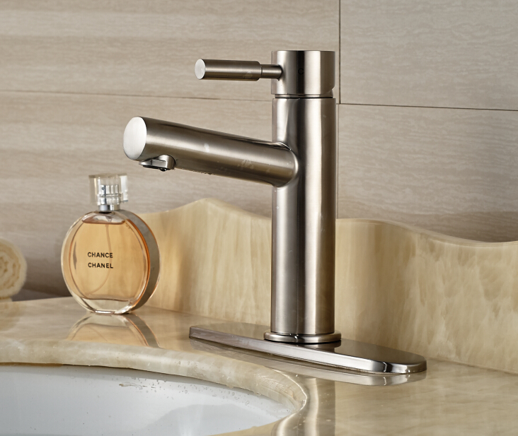 Free Shipping ! Nickle Brushed Finished Deck Mounted Bathroom Basin Faucet Mixer Tap With Base Plate free shipping low price promotion brushed nickle solid brass spring kitchen faucet two spouts pull deck mount mixer faucet zr659