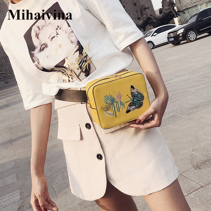 Mihaivina Fashion Women Waist Pack Pu Leather Female Belt Chain Bag Butterfly Flap Shoulder Bags Luxury Fanny Pack Waist Bag цена