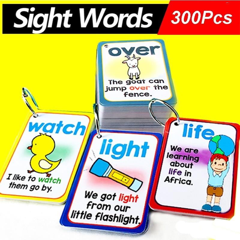 300Pcs/Set English Sigh Words Learning Cards Pocket FlashCards Learning Education Montessory Educational Toys Montessori pocket toxicology flashcards