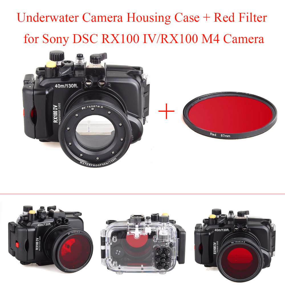 Meikon 40M/130f Underwater Camera Housing Diving Case for Sony DSC RX100 IV/RX100 M4,Waterproof Camera Bags Case + Red Filter