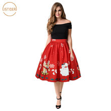 Christmas Series Women HD Digital Printing Cartoon Santa Elegant High Waist Skirt