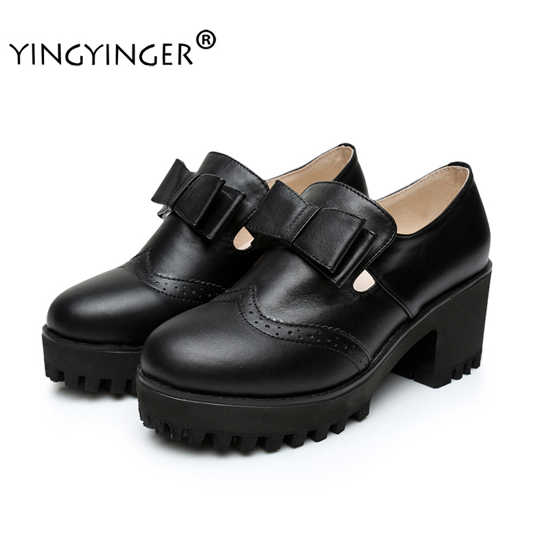 Butterfly-knot Solid Leather Med Heels Pumps Wedding Shoes Woman Zapatos Mujer Sapato Feminino Chaussure Femme Tenis Feminino genuine leather excellent sexy high heels brand women pumps ladies shoes woman chaussure femme zapatos mujer sapato feminino