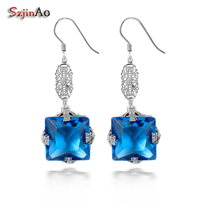 Szjinao Birthstone Silver Drop Earrings For Women Cushion London Blue Topaz Women Earrings Pure 925 Sterling Silver Jewelry