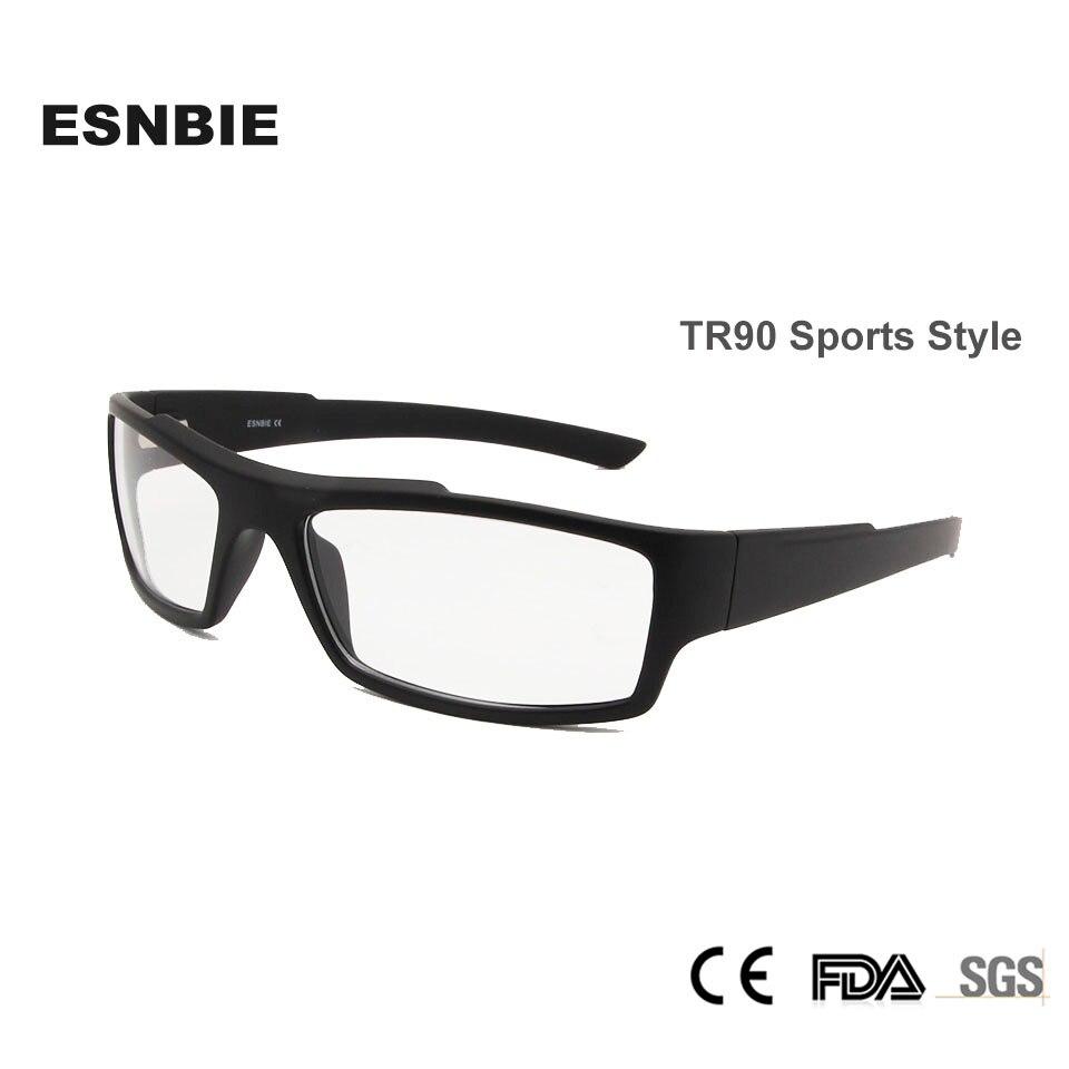 d77cc25fd8cd3 ESNBIE Novo TR90 Homens Vidros do Olho Óptico Lente Clara Óculos Homem  Óculos de Prescrição Quadro Lerdo Quadrado Preto Fosco 78208