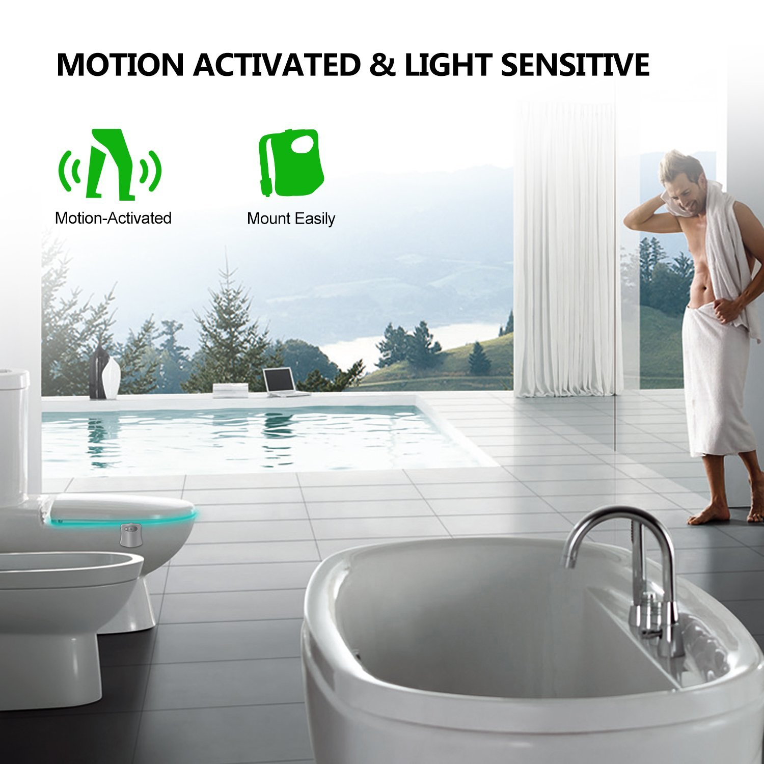 Toilet Night Light, Motion Activated Toilet Night Light, 8 Color Changing Sensor LED Washroom Night Light Fits Any Toilet