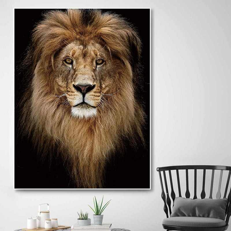 Wall Art Canvas Painting Print Animal lion Picture tiger Poster Living Room Art Decoration Prints Poster No Frame deer Painting