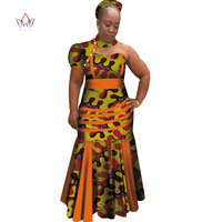 New Dashiki Women Long Dresses with Headscarf Bazin Riche African Patchwork Dresses for Women African Style Clothing WY4070