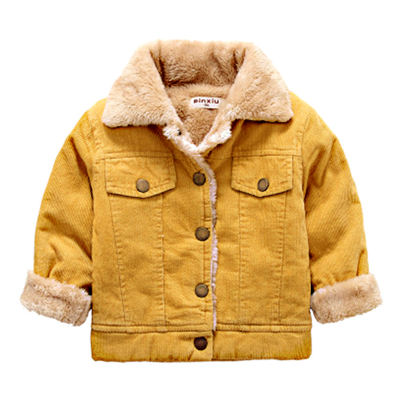 2-6Y Kids Casual Brown Corduroy Coat Autumn Winter Plus Velvet Jacket Boys Warm Thick Turn-down Collar Outwear Long Sleeve Coat casual turn down collar color block drawstring design long sleeve coat for women