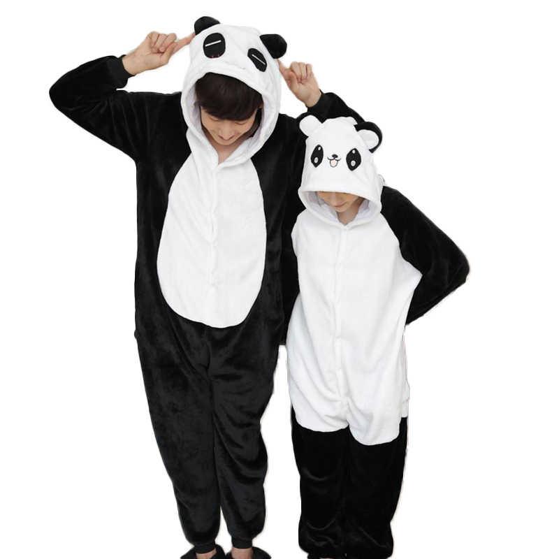 Взрослые панды пижамы Осень Зимние фланелевые Для мужчин wo Для мужчин пижамы  животных пижамы один кусок 787e4f0114b7b