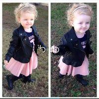 EMS DHL Ücretsiz Kargo Çocuklar Toddlers Kızlar çocuk Uzun Kollu Siyah Faux Deri Jaclets Zip Serin Moda