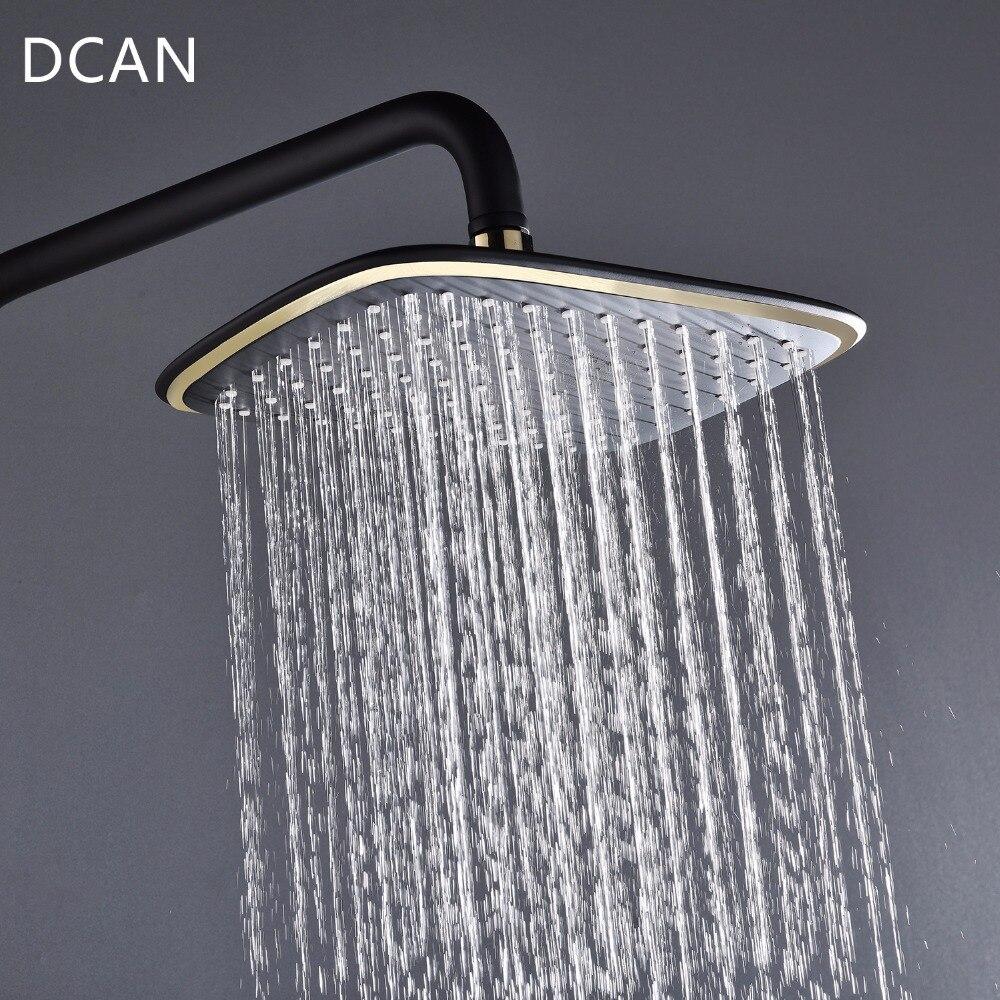 DCAN Black Thermostatic Shower Faucet Set Bathroom & Storage Rack Handheld Shower head Swivel Tub Spout Bidet Sprayer Head