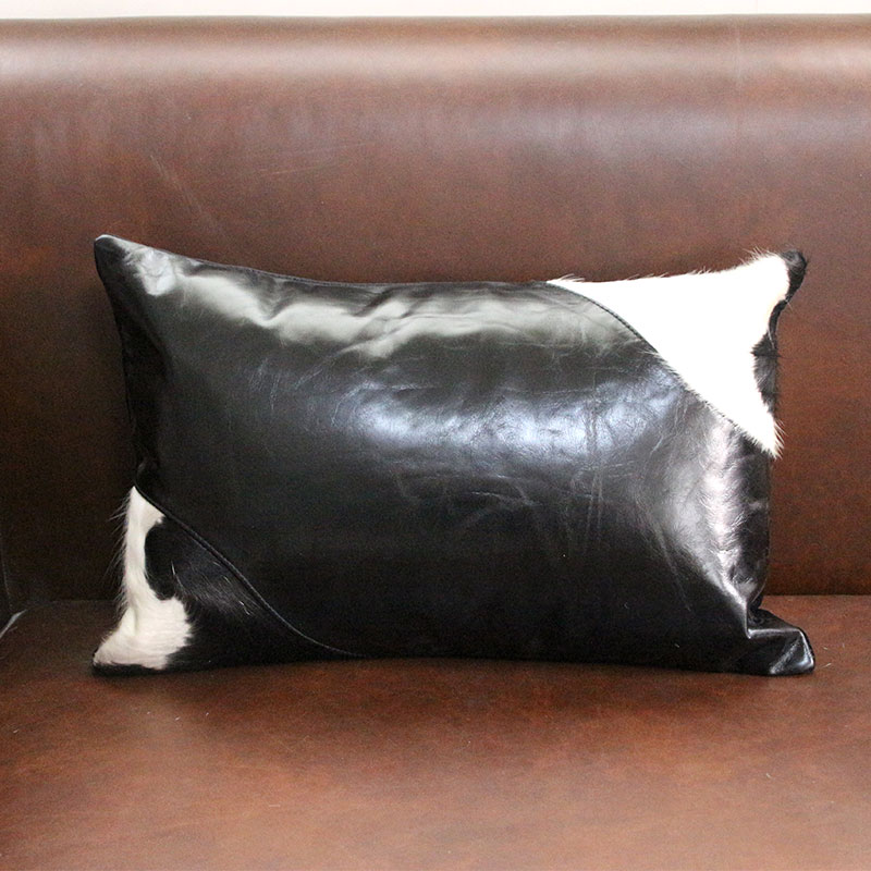 Classical Black And White Cowhide Leather Throw For