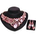 De coral perlas africanas joyería nigeriano boda perlas africanas joyería conjunto cristal plateado plata de la joyería de la boda establece CN009
