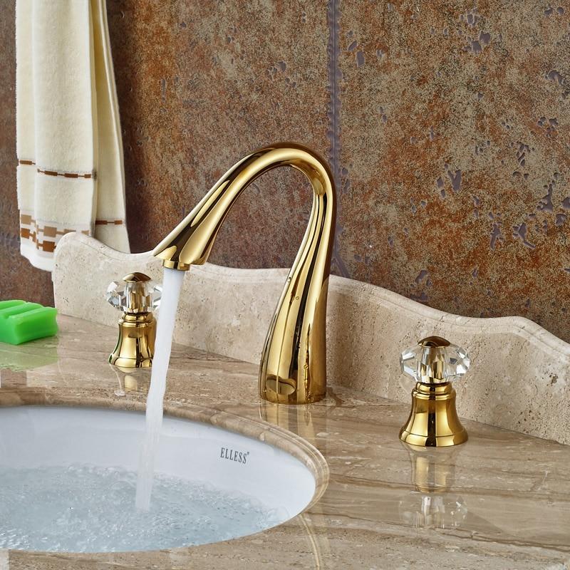Luxury Double Cristal Handles Golden Basin Sink Mixer Faucet Deck Mount 3 Holes Widespread Water Taps