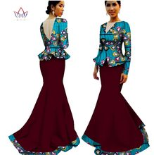 floor-length bazin traditional african clothing clothes Summer Two Piece Plus Size Dashiki Women v-neck Skirt Set 7xl WY1589