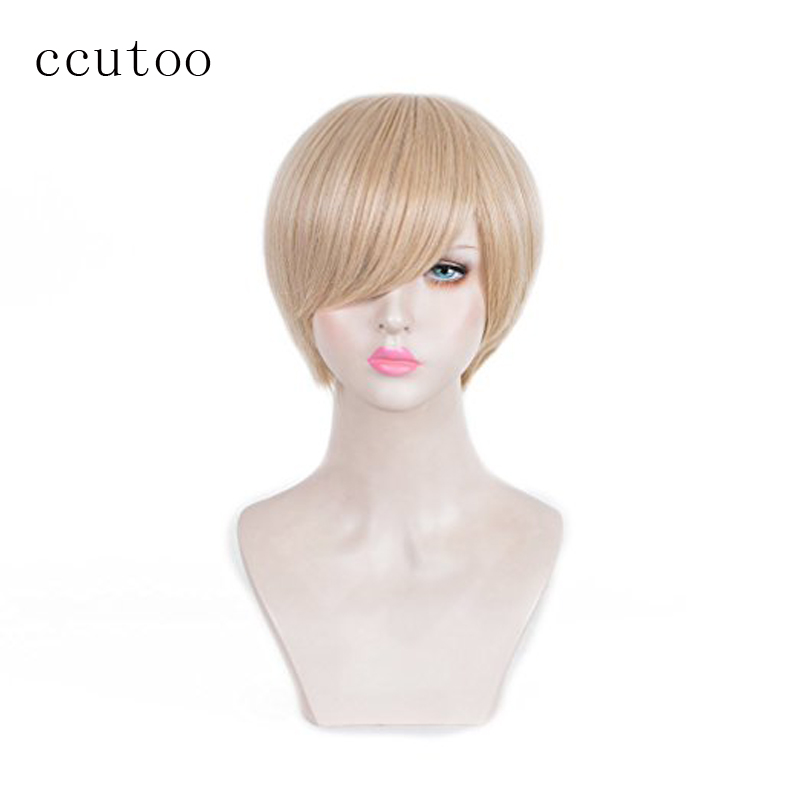 ccutoo 30cm Blonde Short Kuzu no Honkai Scums Wish Awaya Mugi Wig Okita Sougo Synthetic Hair Cosplay Full Wigs Heat Resistance