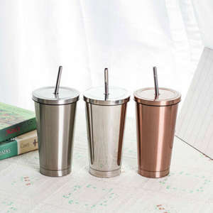 500ml Stainless Steel Mug Travel Tumbler Coffee Cup With Drinking Straw Portable