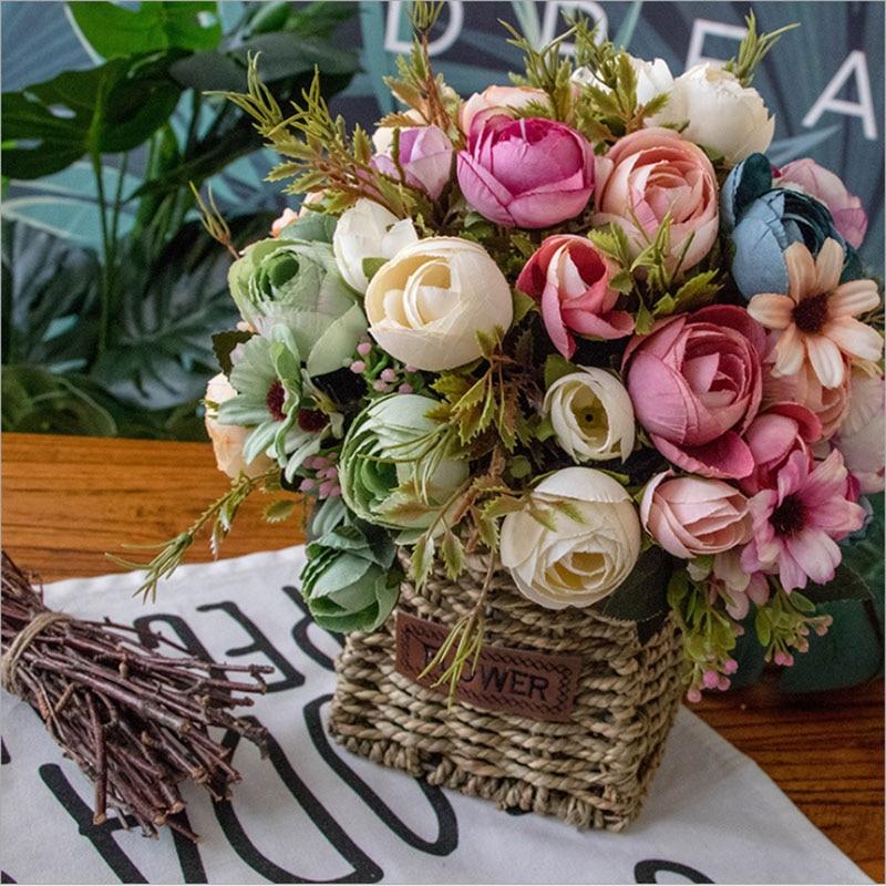 1 Artificial Flower Bouquet Diy American Country Retro Beautiful Wedding Is Conducive To Silk Flower House Water Garden Decorati Artificial Dried Flowers Aliexpress
