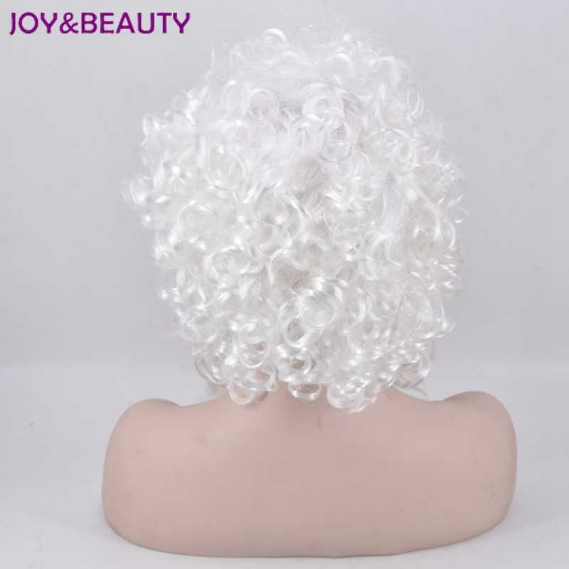 Glädje och skönhet Kort krusigt hår Vit Santa Paryk och Skägg Set - Syntetiskt hår - Foto 4