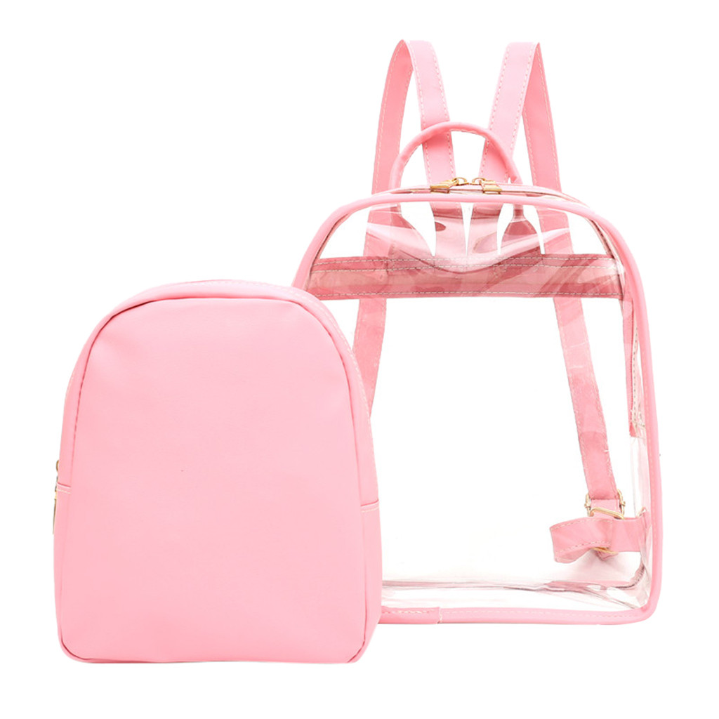 2019 NEW Cute Clear Plastic See Through Transparent Backpack Women Girl Student Travel Bag Satchel  School Book Bag May3