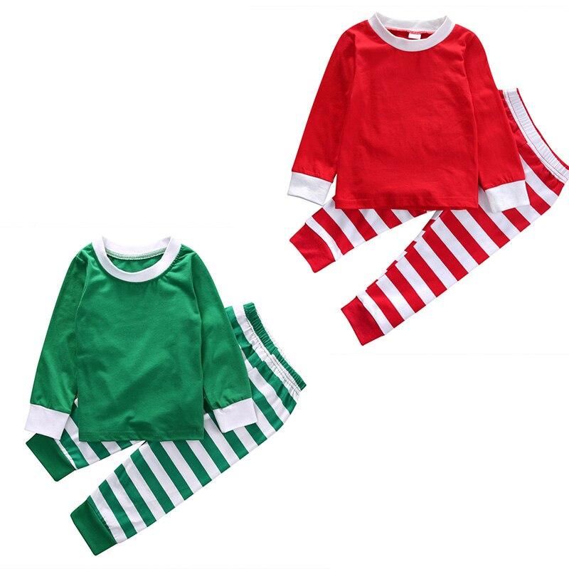 Kids Striped Xmas Pjs Pajamas Baby Boy Girl Christmas Festivel Sleepwear Pajamas Family Photography Prop Outfit