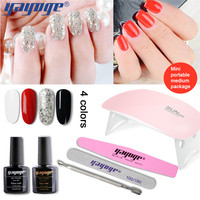 Yayoge Gel Nail Polish 4Colors 10in1 Glitter Nail UV Gel Varnish Set Pink Lamp Manicure Diy Top Base For Nail Art Manicure