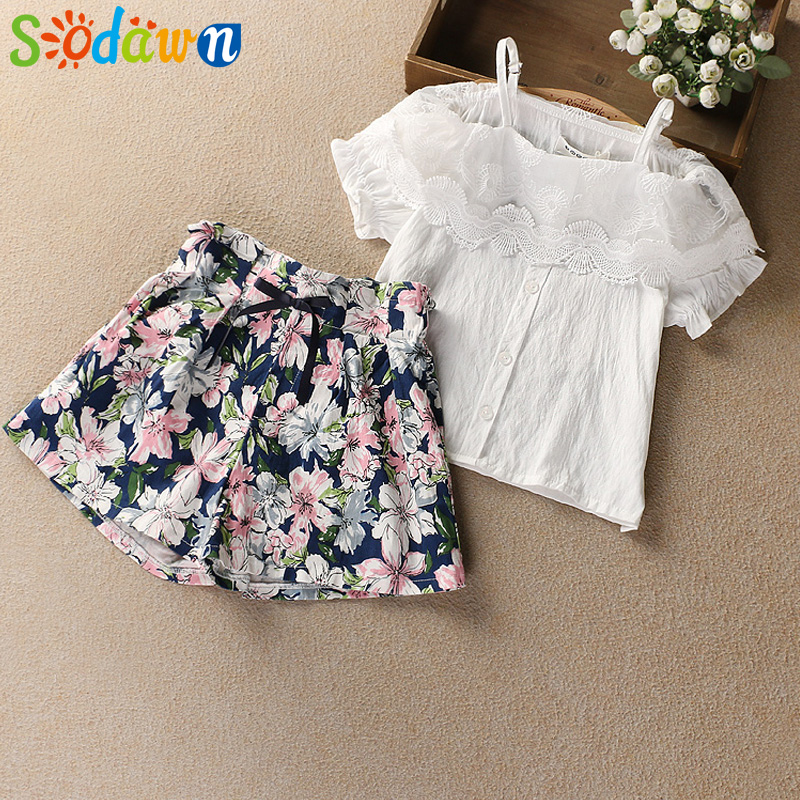 Sodawn Children Clothes 2018 Summer New Girl Clothing Suit One Shoulder Strap Shirt + Floral Shorts 2PCS Baby Girl Clothes 2pcs children outfit clothes kids baby girl off shoulder cotton ruffled sleeve tops striped t shirt blue denim jeans sunsuit set