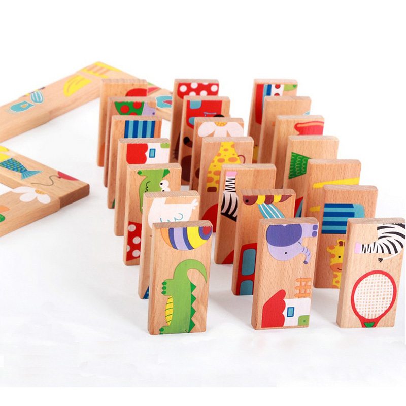 Animal Solitaire Puzzle Toy Kids /Domino 28PCS Child Toy Standard Domino Wooden Early Childhood Toys Children