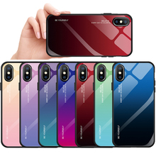 Tempered Glass Case For iPhone 11 Pro XS XR 7 8 6 6S Plus Gradient Color Blue Ray Aurora Skin Back Cover For iPhone XS Max XS XR girly case for iphone xr x xs max cover korean aurora gradient color dot skin bag cases for iphone 7 8 plus 6s case long chain