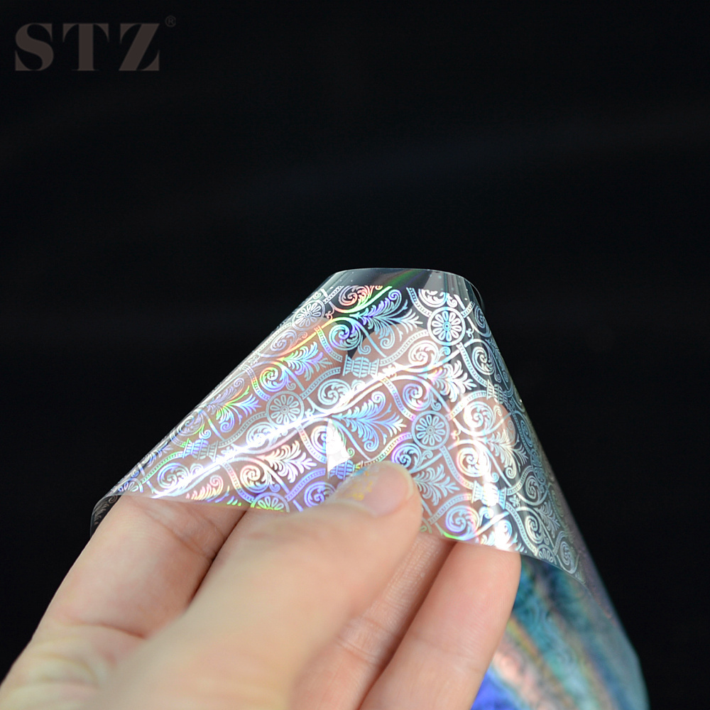 Full color nail art - Aliexpress Com Buy Stz 100 4cm Diy Transparent Laser Muti Color Nail Art Transfer Foil Full Cover Marble Pattern Manicure Tools Stickers Lt08 From