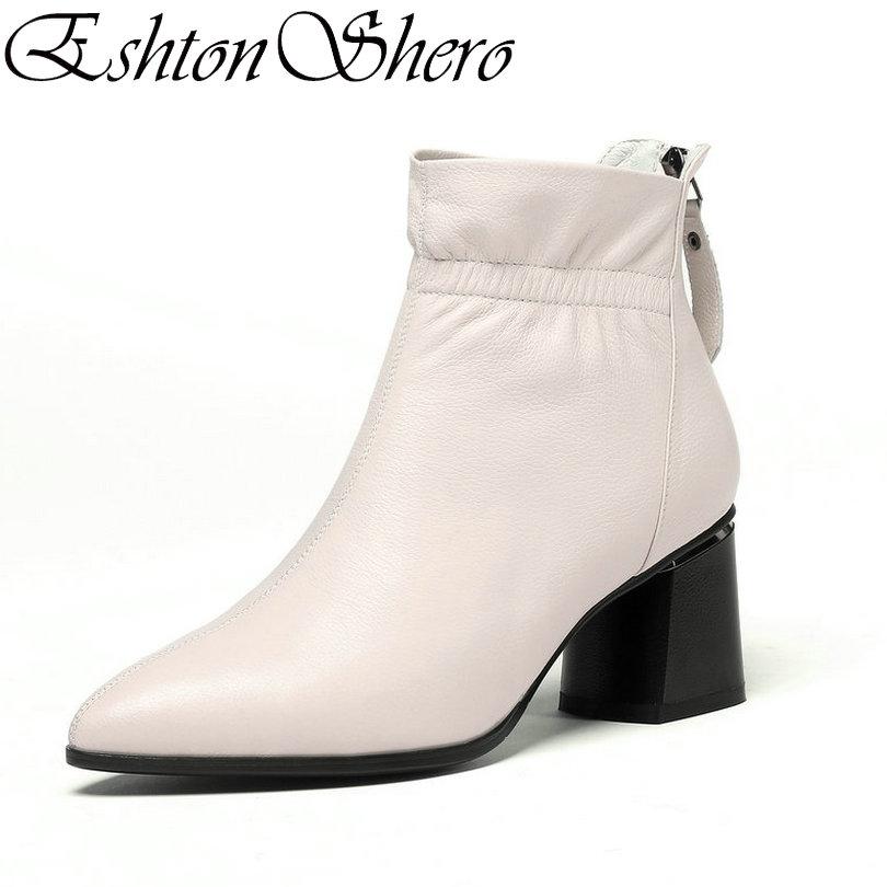 De Chaussures 42 Femmes Eshtonshero Dames Talons Femme Pu noir Moto À Beige Zipper White Taille Mode Bottes 34 Hiver Cuir En Hauts Cheville pwwxq685H